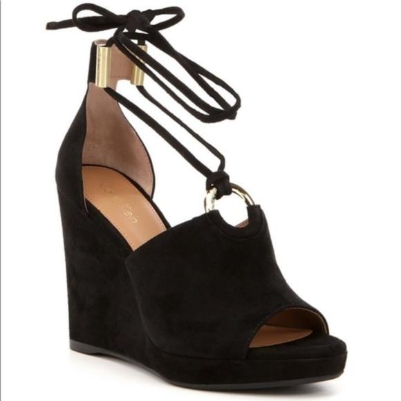 d1785c9ce8e Calvin Klein NWOT Ramona Black Wedge Sandals